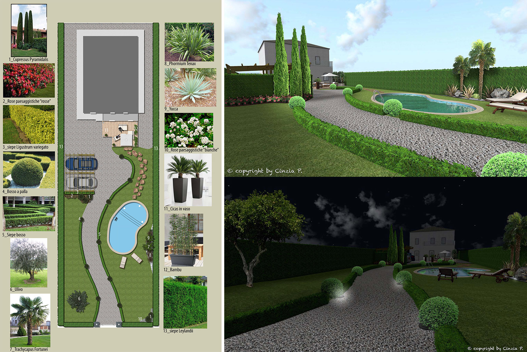 Progettazione giardini rendering costruzione biopiscine for Costruzione giardini
