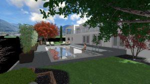Render Realizzazione Giardino Casa Privata Con Piscina